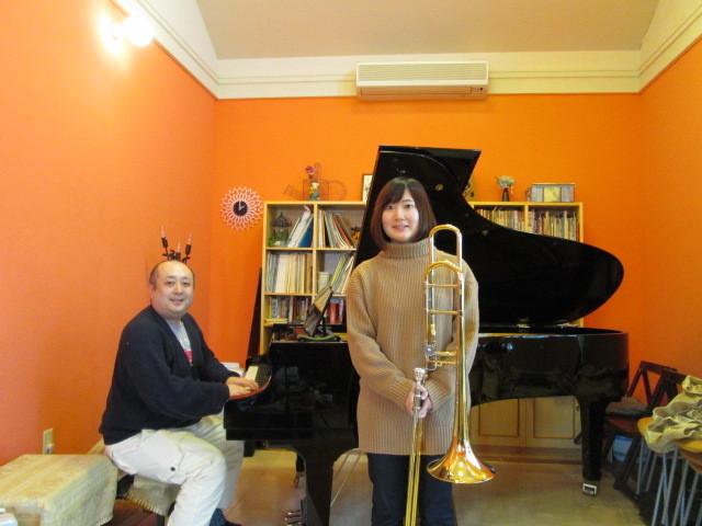 今日は、午後から山形交響楽団のトロンボーン奏者篠崎唯さんが、見えられました。_d0159273_19501207.jpg