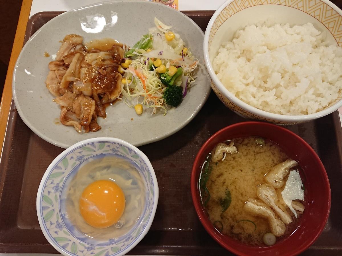 3/23  豚生姜焼朝食セット¥390@すき家_b0042308_07010318.jpg