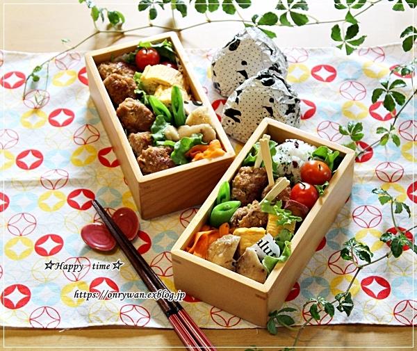 豚つくね弁当と豚肉春キャベツレンチン蒸し♪_f0348032_17421527.jpg
