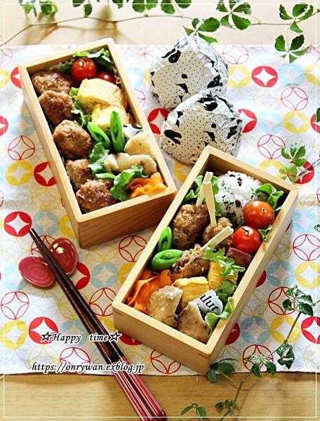 豚つくね弁当と豚肉春キャベツレンチン蒸し♪_f0348032_17422719.jpg