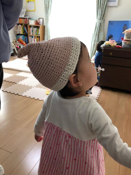 娘ちゃんの春用のどんぐり帽子。_b0135325_10550741.jpg