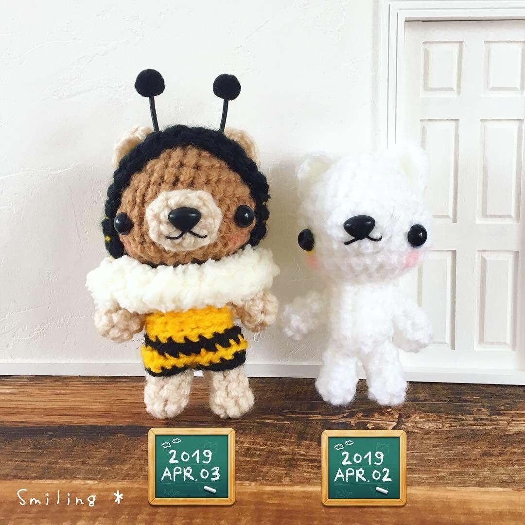 あみぐるみハチさんくまちゃん(2019ver.)とオッドアイの白猫ちゃん♪_f0340004_12354301.jpeg