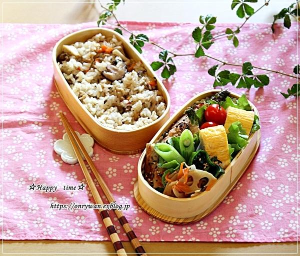 炊き込みご飯・アスパラ肉巻き弁当とパン焼き・バターロール♪_f0348032_18012422.jpg