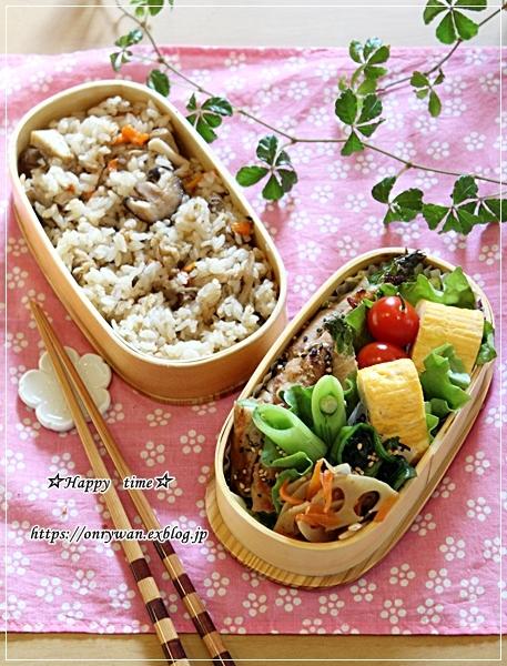 炊き込みご飯・アスパラ肉巻き弁当とパン焼き・バターロール♪_f0348032_18013103.jpg