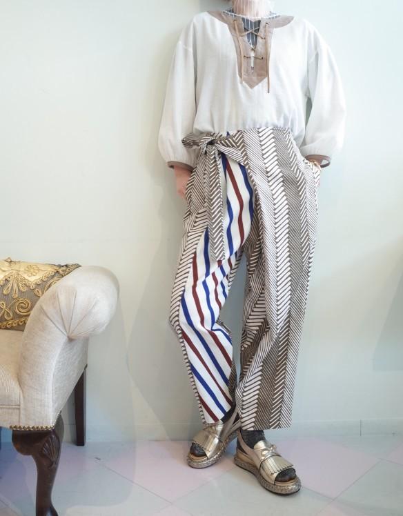 OKIRAKU◆Printed dobby Wrap Pants◆_e0269968_17445724.jpg