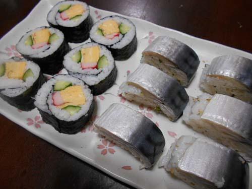 しめ鯖の棒寿司&巻き寿司_f0019498_21592992.jpg