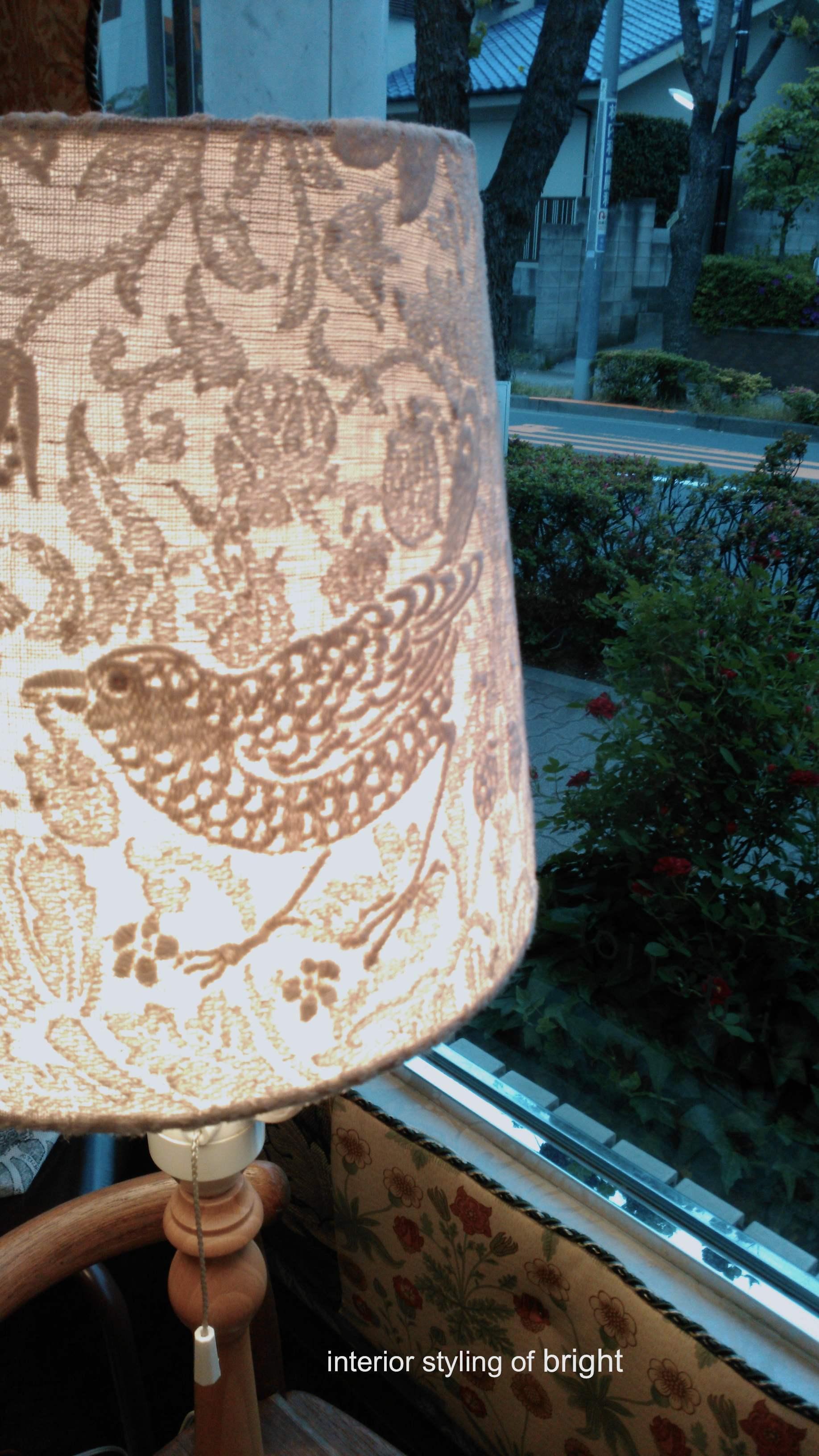 ピュアモリス ランプシェード張替『いちご泥棒』 ウィリアムモリス正規販売店のブライト_c0157866_19582486.jpg