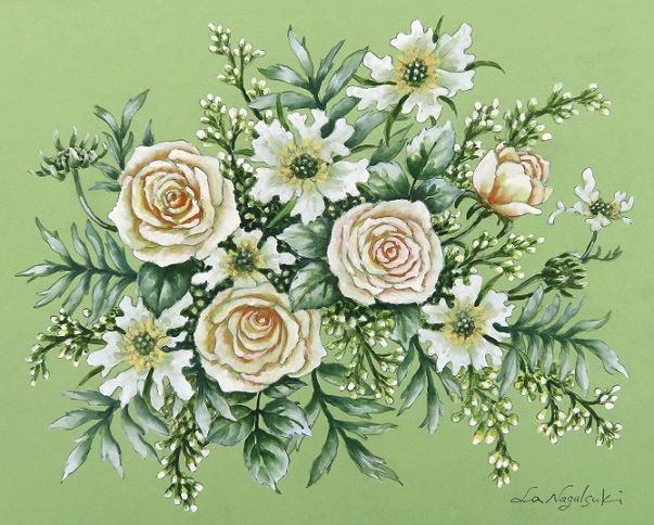 白色の花たちの水彩画_b0089338_22222811.jpg
