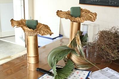 上級ホビーレッスン 蓮と竹のドライを使って_a0085317_06335859.jpg