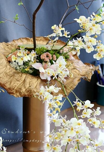 上級ホビーレッスン 蓮と竹のドライを使って_a0085317_06340553.jpg