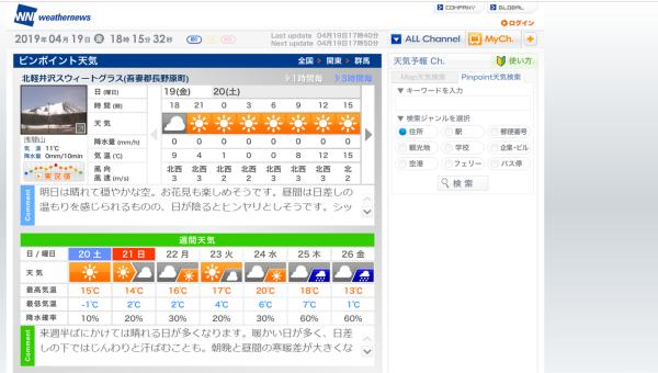今週末の天気と気温(2019年4月19日)_b0174425_18170937.png