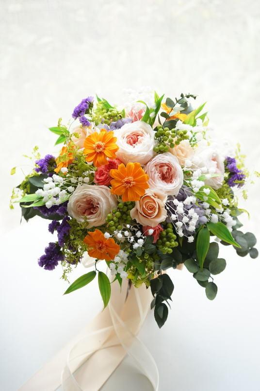 クラッチブーケ オレンジ&ピーチ系のお花で!_a0136507_23071173.jpg