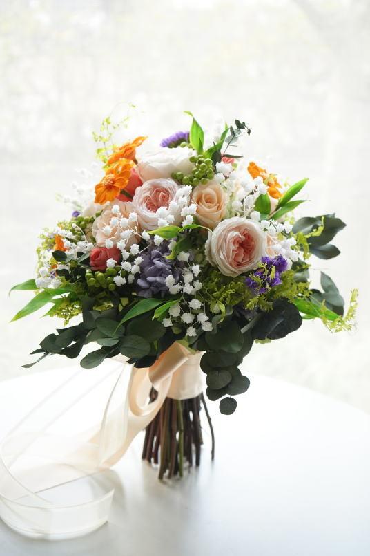 クラッチブーケ オレンジ&ピーチ系のお花で!_a0136507_23074882.jpg