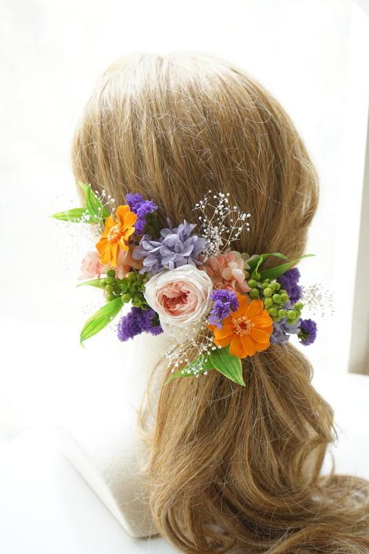 クラッチブーケ オレンジ&ピーチ系のお花で!_a0136507_23084783.jpg