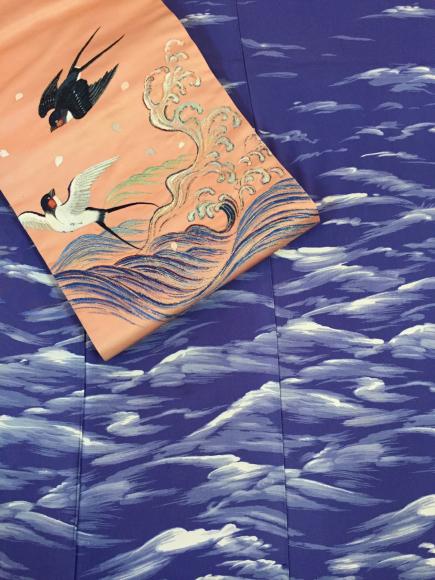4/29より!原宿「おさんぽきもの」皆川月華デザイン燕に波と桜刺繍帯×波着物♪販売商品6_c0321302_00000297.jpg