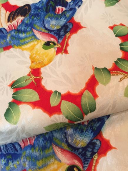 4/29より!原宿「おさんぽきもの」水色更紗単衣着物×赤鳥花帯♪販売商品11_c0321302_18473746.jpg