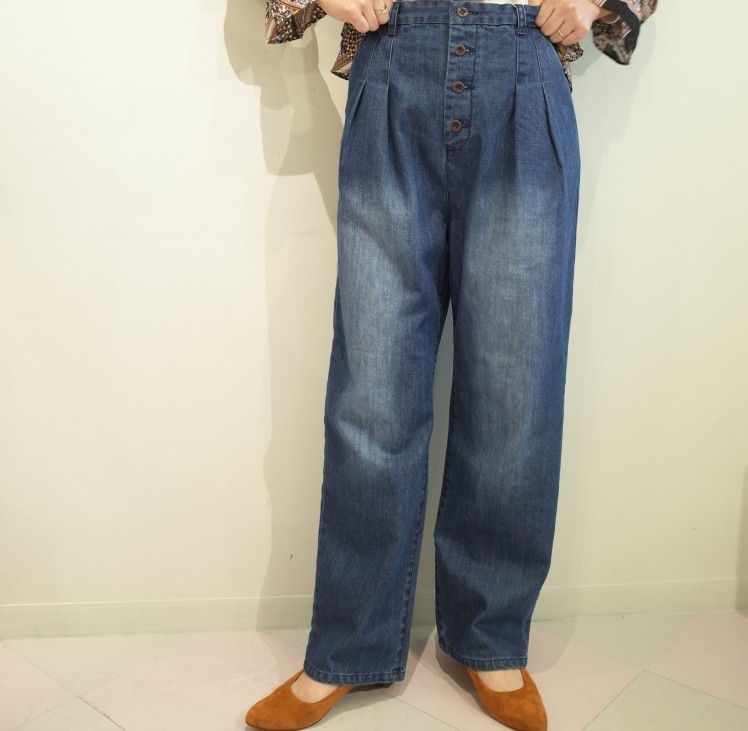 QUINOA BOUTIQUE◇Button tuck Denim Pants◇_e0269968_17502768.jpg