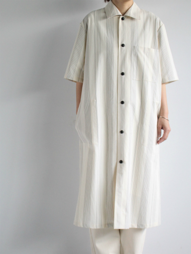 THE HINOKI Organic Cotton Half Sleeve Shirt Dress / Stripe_b0139281_1284024.jpg