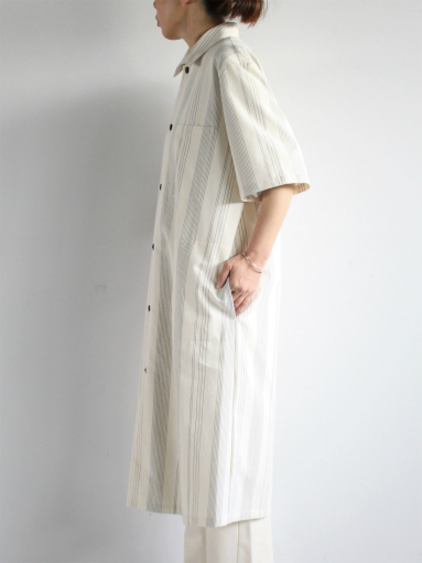 THE HINOKI Organic Cotton Half Sleeve Shirt Dress / Stripe_b0139281_1291281.jpg
