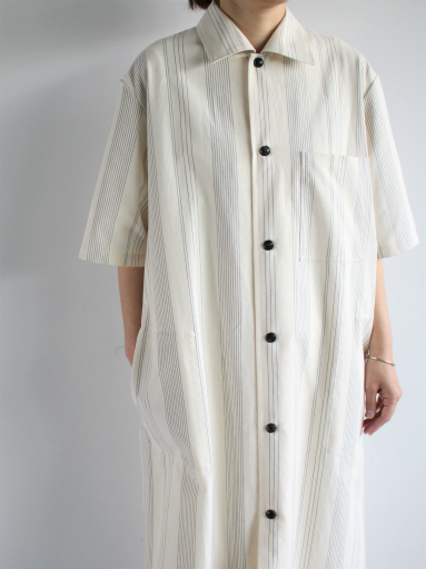 THE HINOKI Organic Cotton Half Sleeve Shirt Dress / Stripe_b0139281_129219.jpg