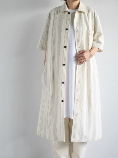 THE HINOKI Organic Cotton Half Sleeve Shirt Dress / Stripe_b0139281_1292271.jpg
