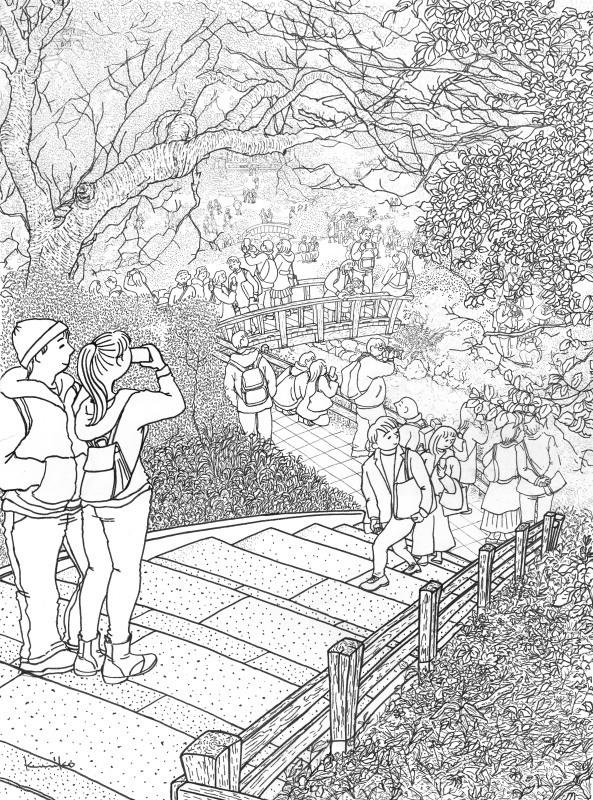 2019新宿御苑の桜スケッチ線描_f0313391_19502388.jpg