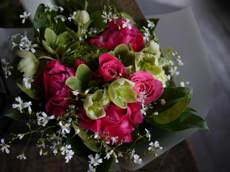 産休に入られる奥様へ花束。「シャクヤクを使って」。2019/04/26。_b0171193_19361242.jpg