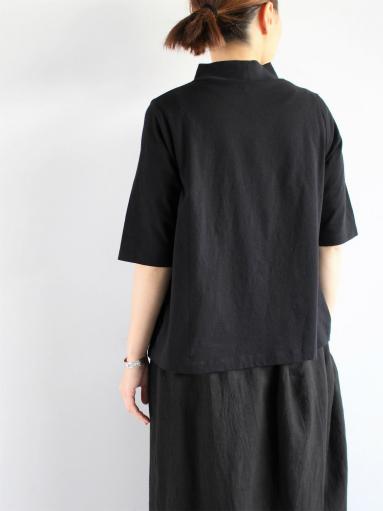 GRANDMA MAMA DAUGHTER HIGH NECK SIDE GATHER T-SHIRT / BLACK_b0139281_12125371.jpg