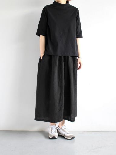 GRANDMA MAMA DAUGHTER HIGH NECK SIDE GATHER T-SHIRT / BLACK_b0139281_12132319.jpg