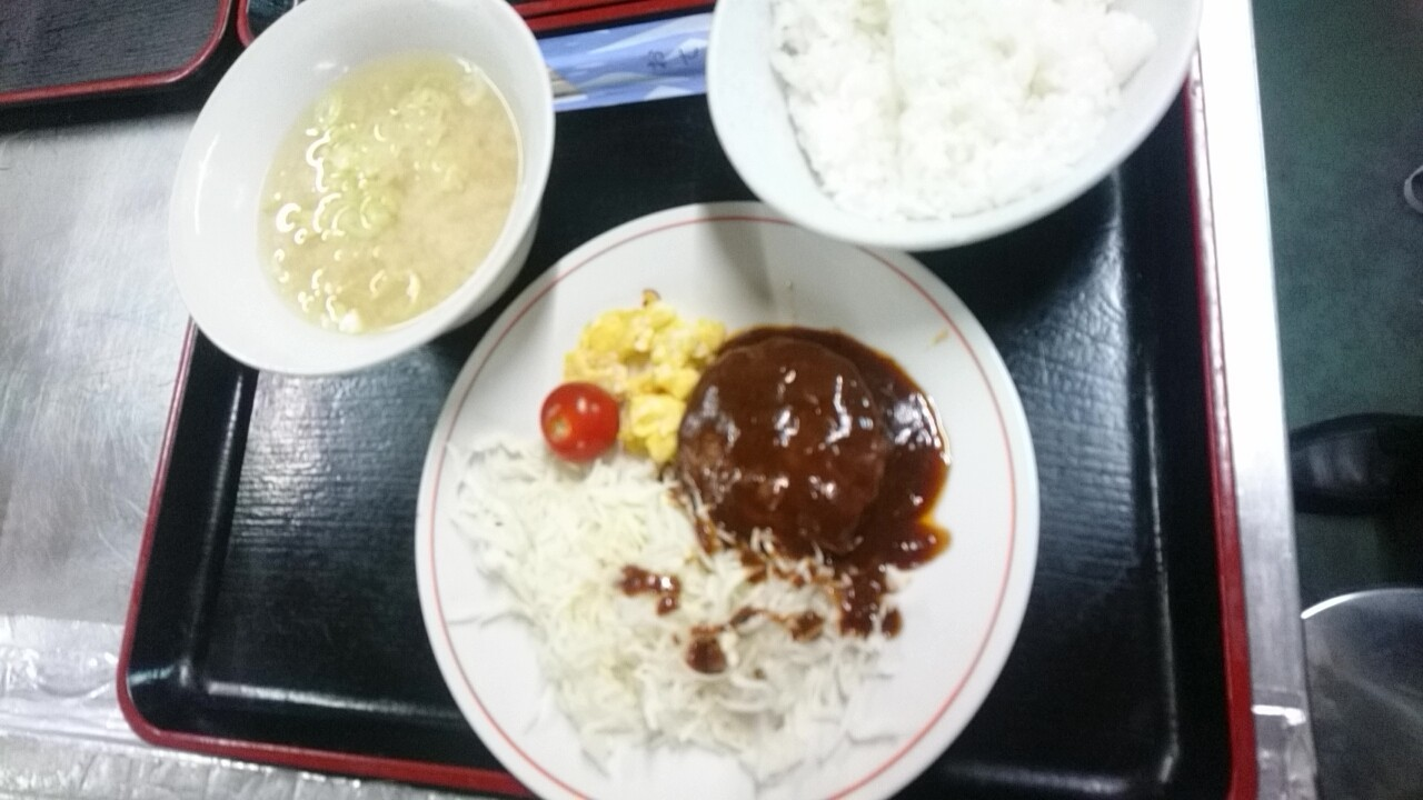 ハンバーグ定食500円、フルーツ盛り100円_b0106766_11272677.jpg
