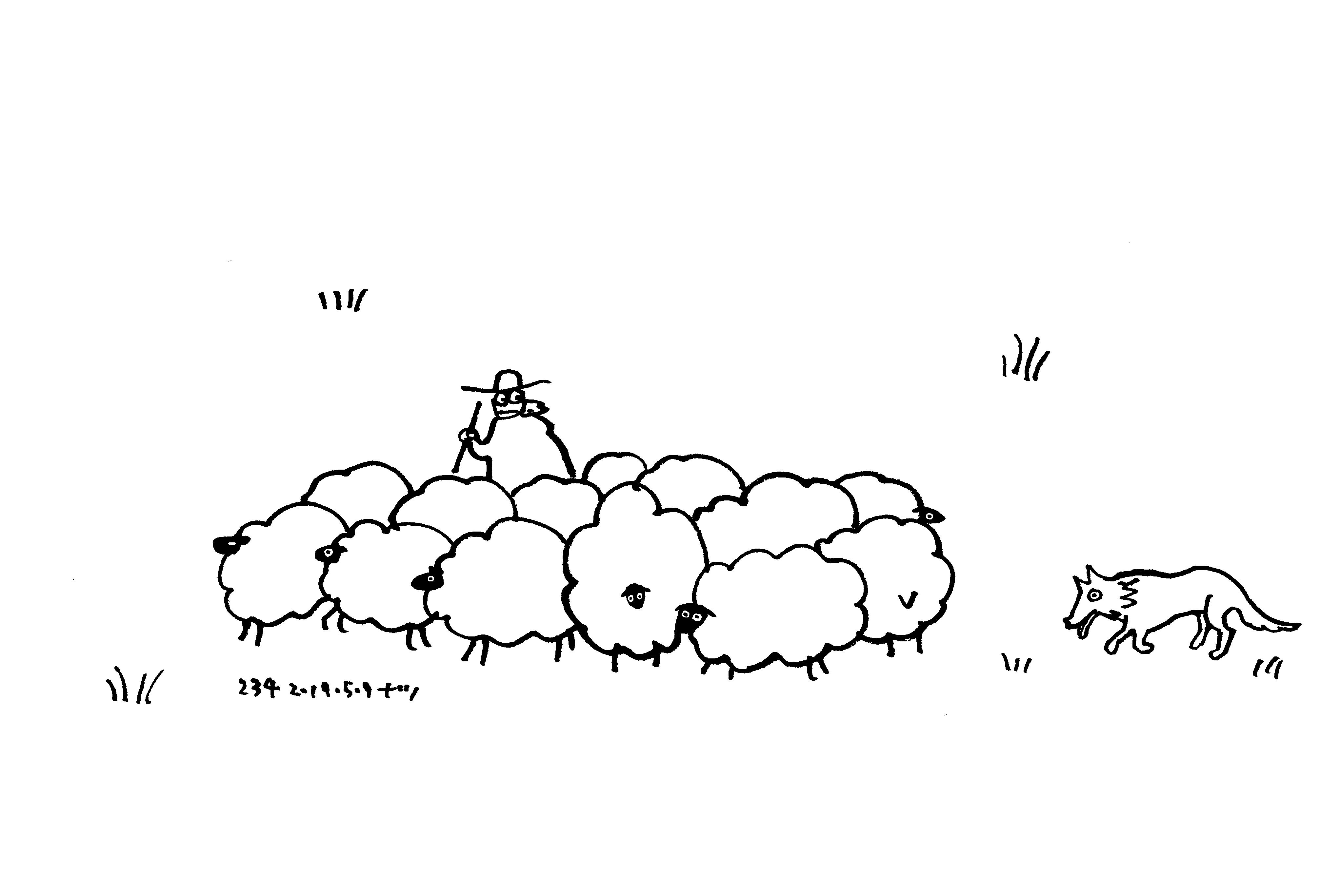 Aesop\'sFables イソップ寓話集より:234:狼と羊飼い_e0026053_12401632.jpg