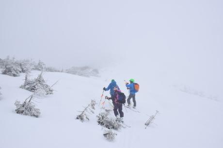 2019年4月27日、小雪交じりの尾瀬至仏山から山の鼻に滑り降りる。_c0242406_13525427.jpg