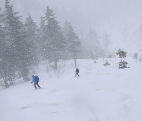 2019年4月27日、小雪交じりの尾瀬至仏山から山の鼻に滑り降りる。_c0242406_14384663.jpg