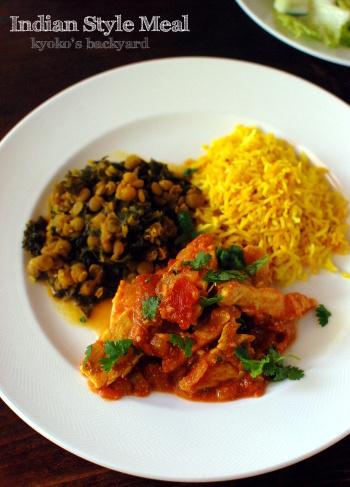 インドカレー風トマト&チキンの煮物とレンズ豆&ケールの煮物_b0253205_03231406.jpg
