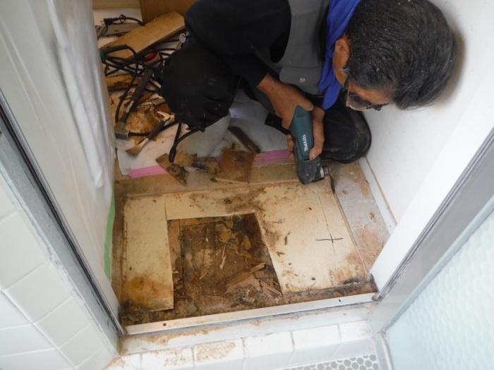 洗面所床の腐食補修 ~ 浴室ドア下が腐食_d0165368_16570891.jpg