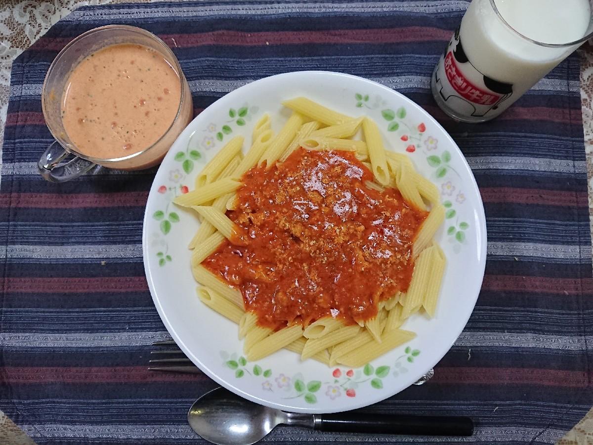 5/21  低糖質ミートソースパスタ & 冷製トマトのポタージュスープ_b0042308_19374628.jpg
