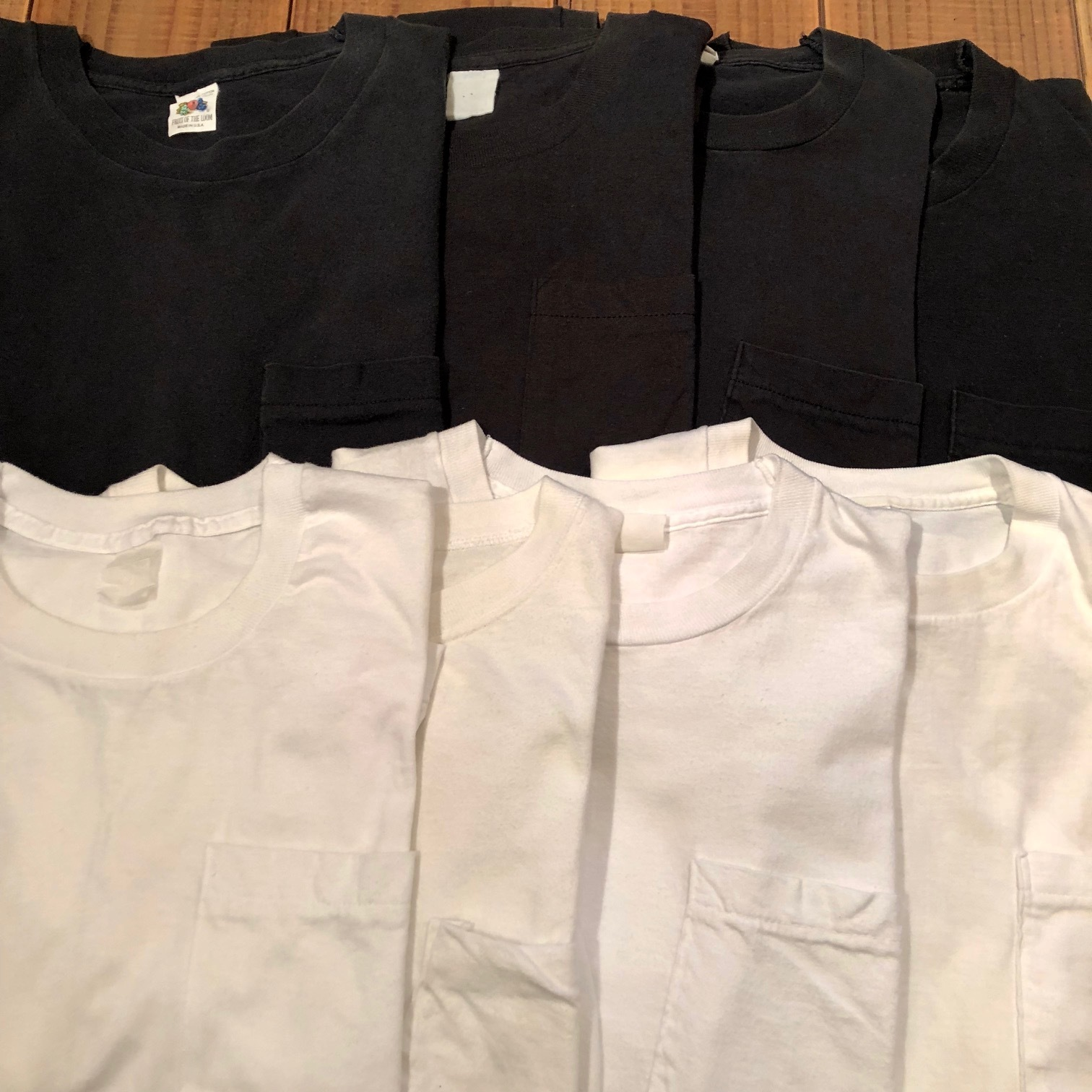 "1980s "" FRUIT OF THE LOOM \"" 100% cotton - BLACK - VINTAGE POCKET Tee SHIRTS × 4P - WHITE - × 4P ._d0172088_17471459.jpg"
