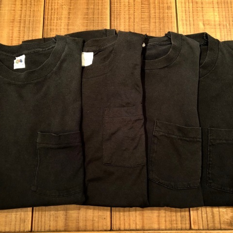 "1980s "" FRUIT OF THE LOOM \"" 100% cotton - BLACK - VINTAGE POCKET Tee SHIRTS × 4P - WHITE - × 4P ._d0172088_17483992.jpg"