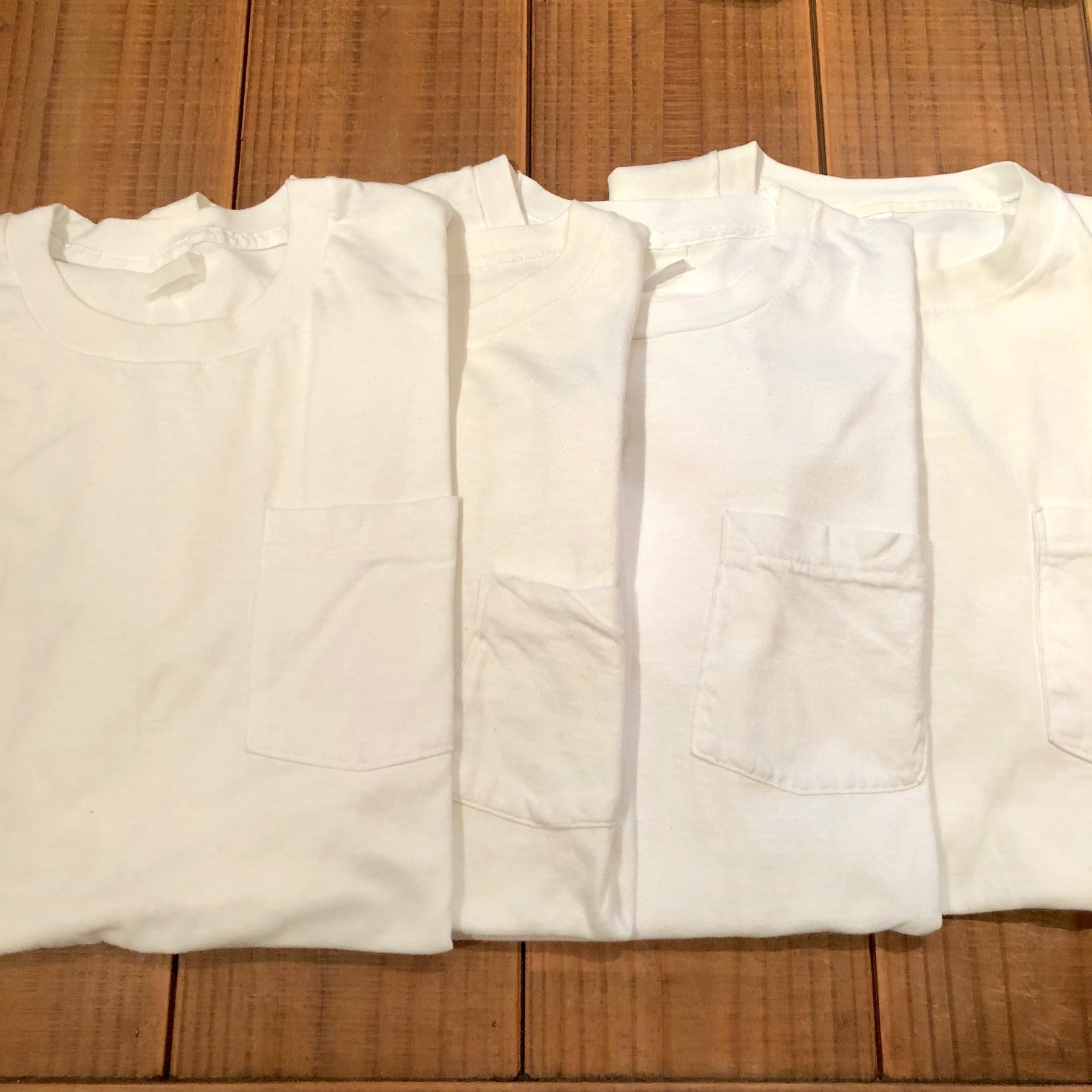 "1980s "" FRUIT OF THE LOOM \"" 100% cotton - BLACK - VINTAGE POCKET Tee SHIRTS × 4P - WHITE - × 4P ._d0172088_17485976.jpg"