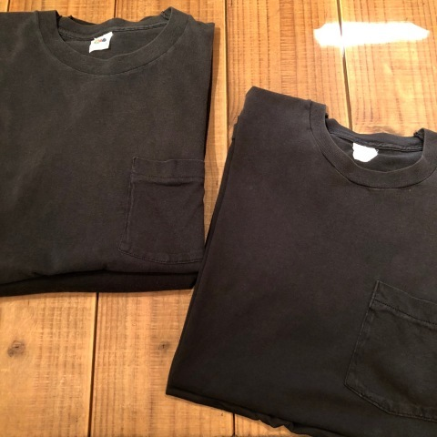 "1980s "" FRUIT OF THE LOOM \"" 100% cotton - BLACK - VINTAGE POCKET Tee SHIRTS × 4P - WHITE - × 4P ._d0172088_17504583.jpg"