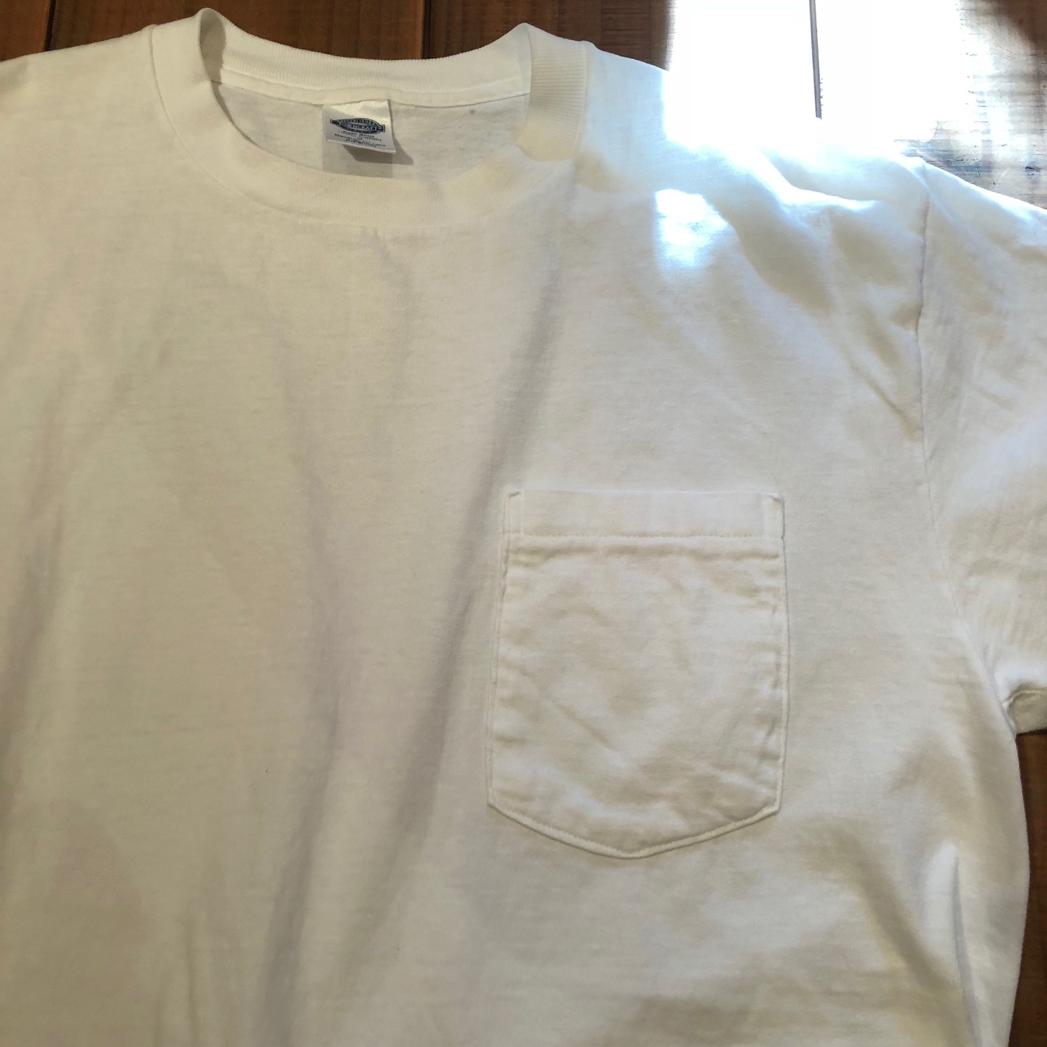 "1980s "" FRUIT OF THE LOOM \"" 100% cotton - BLACK - VINTAGE POCKET Tee SHIRTS × 4P - WHITE - × 4P ._d0172088_18363197.jpg"