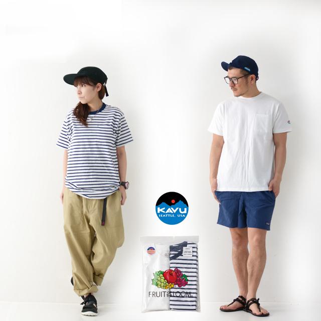 KAVU [カブー] Pack Tee [19821075] パックTシャツ・無地とボーダー2枚組・半袖Tシャツ・ポケットTシャツ・ポケT・MEN\'S _f0051306_16112294.jpg