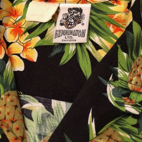 "1980s "" KENNINGTON - California - \"" 100% RAYON vintage - BLACK - HAWAIIAN SHIRTS ._d0172088_22031991.jpg"