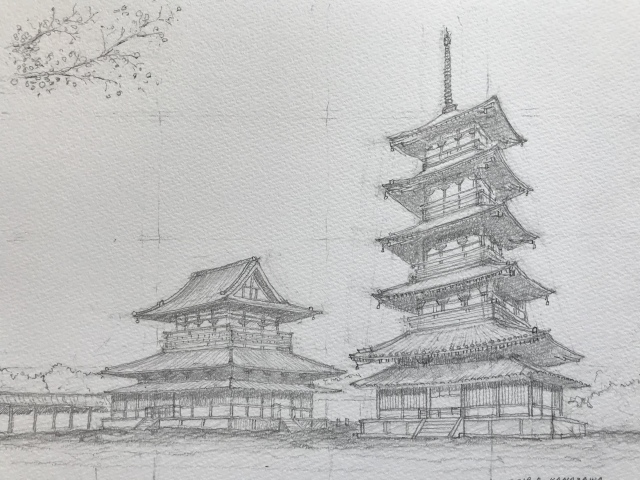 法隆寺五重塔 描いてみた。_c0213352_07160584.jpeg