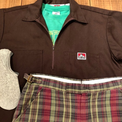"1960s "" UNKNOWN \"" 100% cotton VINTAGE - MADRAS CHECK - Earth Color SHORTS ._d0172088_20490677.jpg"