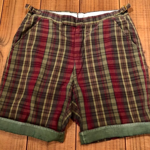 "1960s "" UNKNOWN \"" 100% cotton VINTAGE - MADRAS CHECK - Earth Color SHORTS ._d0172088_20593536.jpg"