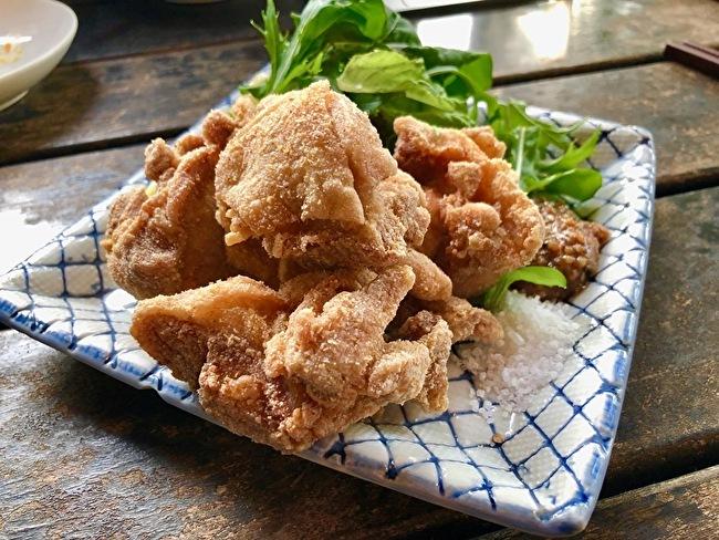 軽井沢川上庵のメニューを真似て。鶏もも肉の蕎麦粉揚げとアスパラとアーモンドのサラダ_a0223786_11542863.jpg