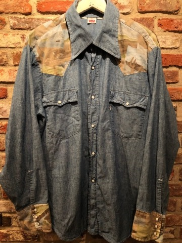 "1970s "" Levi\'s - BAT WING tag - \"" 100% cotton CHAMBRAY 切替 VINTAGE WESTERN SHIRTS ._d0172088_18535060.jpg"