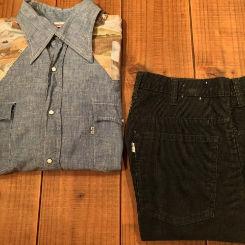 "1970s "" Levi\'s - BAT WING tag - \"" 100% cotton CHAMBRAY 切替 VINTAGE WESTERN SHIRTS ._d0172088_21535869.jpg"
