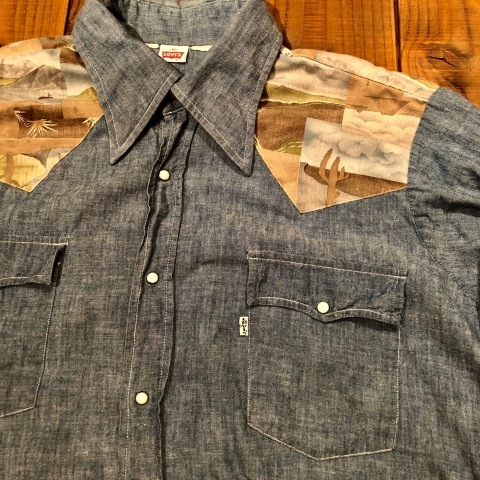 "1970s "" Levi\'s - BAT WING tag - \"" 100% cotton CHAMBRAY 切替 VINTAGE WESTERN SHIRTS ._d0172088_21562504.jpg"